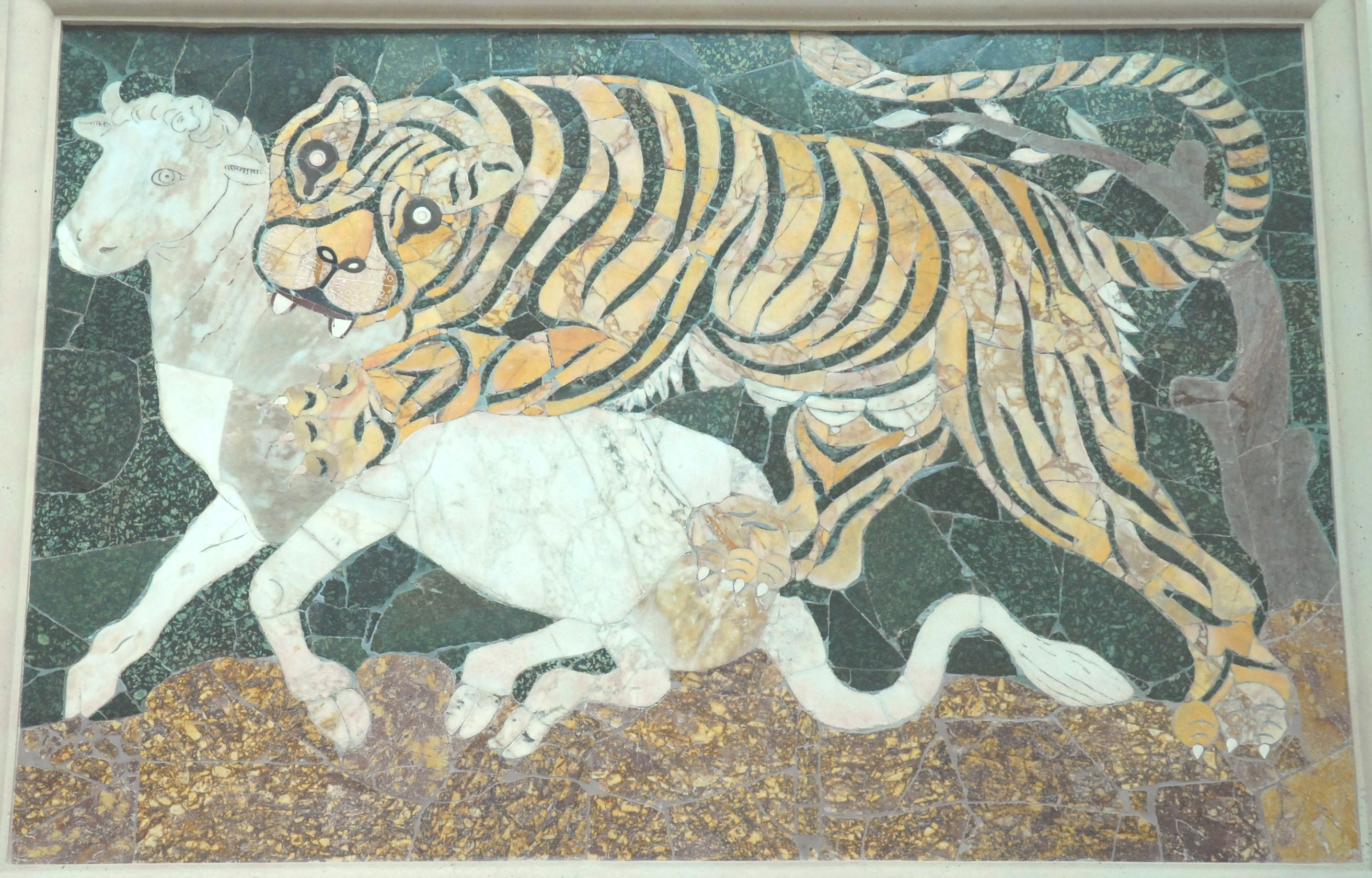 tiger mosaic, Basilica of Junius Bassus, Rome; photo J. Long 1 August 2006