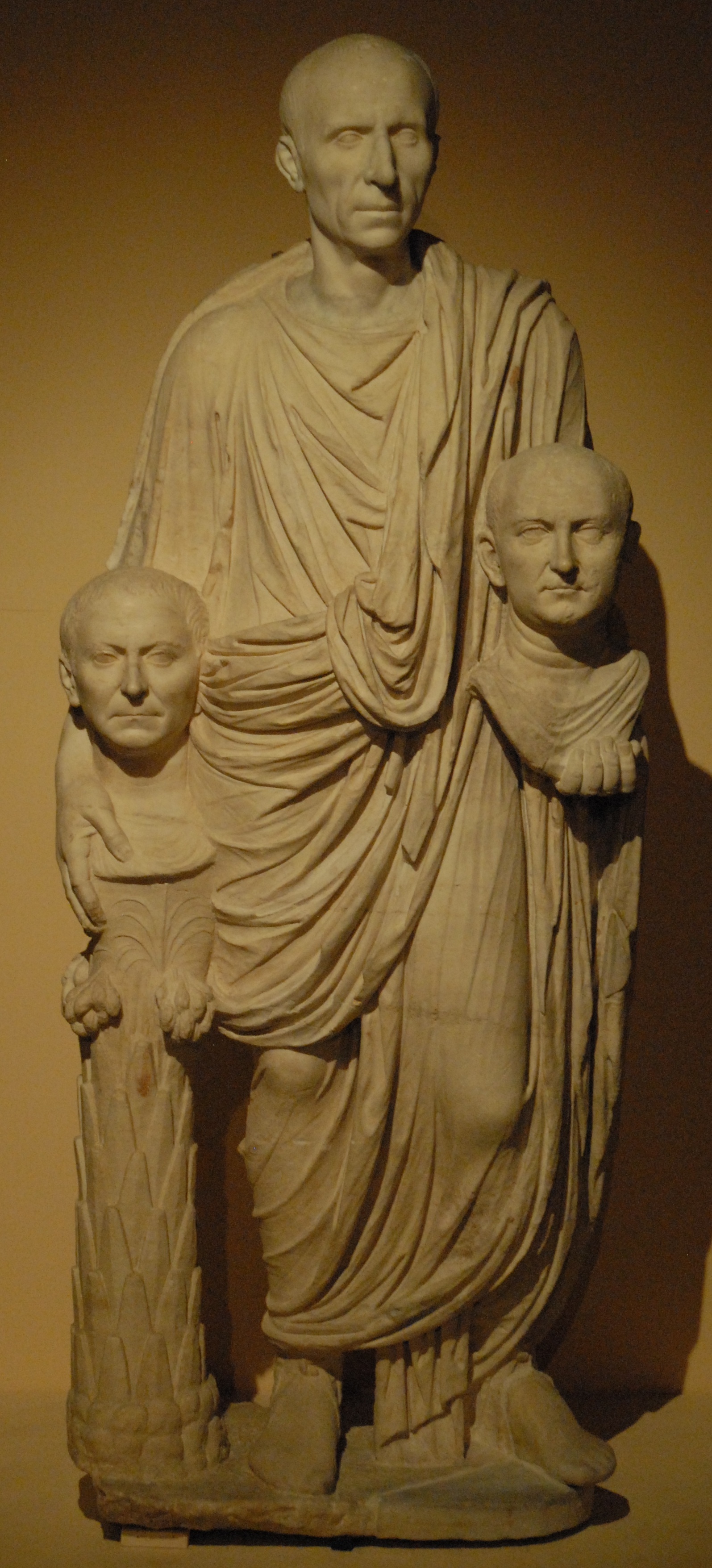 marble statue of senator with ancestor-busts, last decade 1c BC